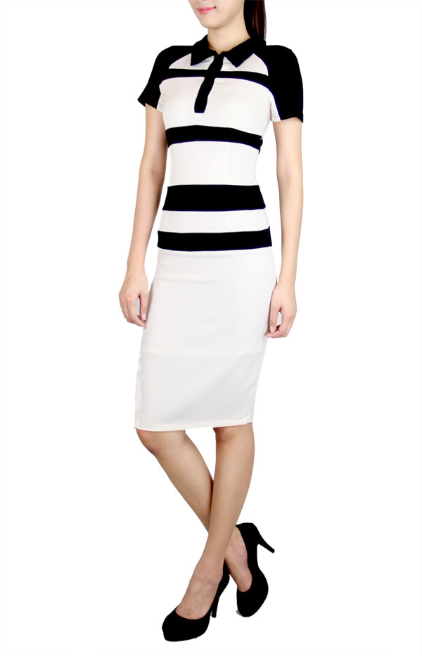 Picture of Acelyn Panel Pencildress (Cream)