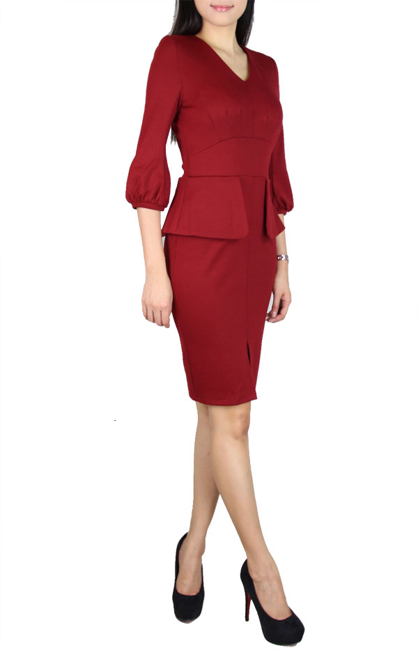 Picture of Marielle Bellsleeves Dress (Maroon)