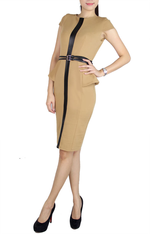 Picture of Shawne Belted Peplum (Brown)