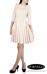 Picture of  Dornelia Pleated Skater by Doublewoot (Beige)
