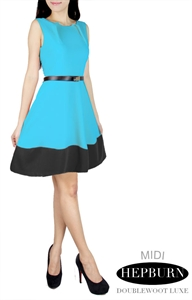 Picture of Regular Hepburn Belted Dress (Turquoise + Black Bottom)