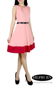 Picture of Hepburn Belted Dress (Pink)