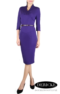 Picture of Dericke Belted Pencildress (Purple)