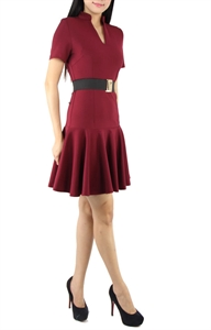 Picture of Carey Belted Dress (Maroon)